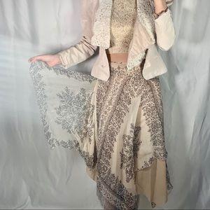 FUZZI Italy maxi skirt silk s beige